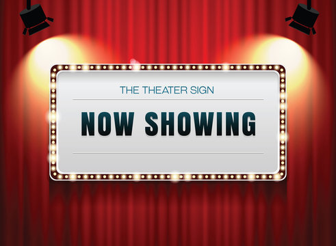 theater sign on curtain