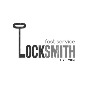 """Locksmith vector logo, icon. Key is shaping letter """"L"""""""