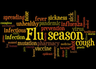 Flu season, word cloud concept 6