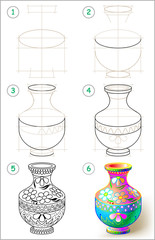 Page shows how to learn step by step to draw beautiful vase. Vector image.