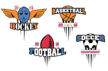 Sport logo set for four sport disciplines. hockey, basketball football, soccer vector emblems