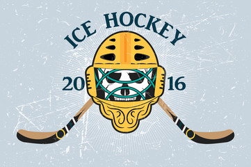 Logo for hockey team -  Goalie mask crossed hockey sticks,  vintage ribbon. Texture on separate layers.Text grouped separately and can be removed. vector