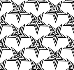 Vector seamless texture. Modern abstract background. Repeated monochrome pattern with stars.
