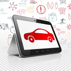 Travel concept: Tablet Computer with Car on display