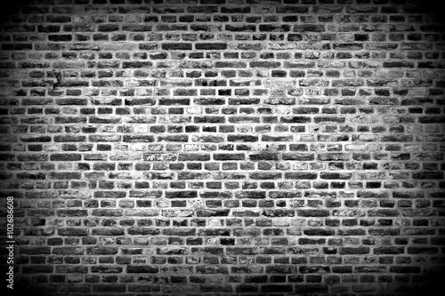Brick Wall Horizontal Background With Bricks Black And White