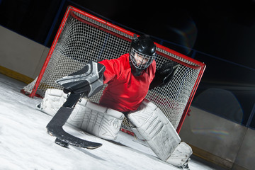 Goalie blocking a puck with stick
