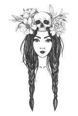 Woman with skull, flowers. Tattoo art.