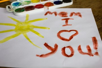 Children's picture with the words I love you mom