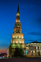 Illuminated Soyembika Tower in Kazan Kremlin