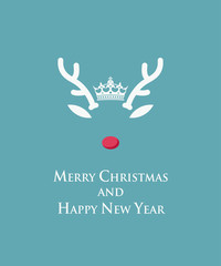 Merry Christmas and Happy New Year card with Rudolph reindeer template