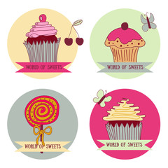 Set of 4 spot graphics elements with sweet cupcakes.
