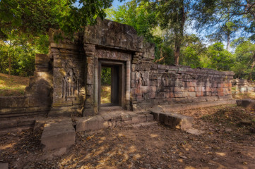 SIEM REAP, CAMBODIA. Angkor Thom. Ancient Khmer pre Angkor architecture temple complex