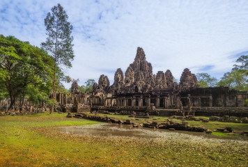SIEM REAP, CAMBODIA. The Bayon is a well-known and richly decorated Khmer temple at Angkor Thom in Cambodia.