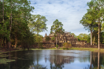 SIEM REAP, CAMBODIA.  The ruins of Bayon Temple with many stone faces, Angkor Historical Park.