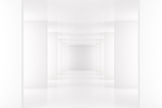 White interior with long corridor in modern space