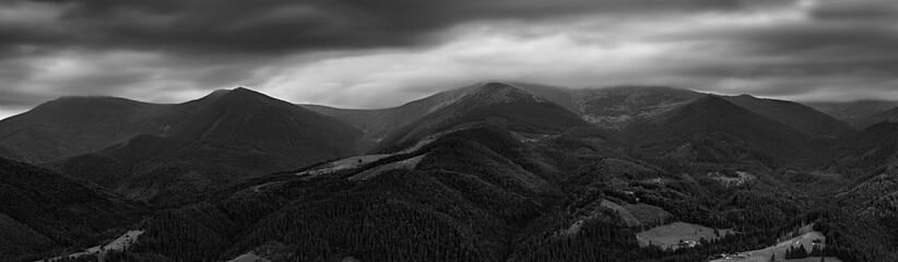 Black and white panorama of Chornogora ridge