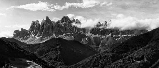Black and white panorama of Geisler (Odle) Dolomites Group