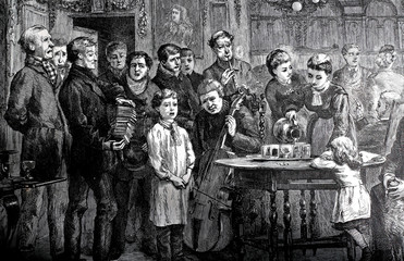Group celebrating holiday with singing music vintage 1800s