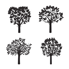 Set of Black Trees and Leafs. Vector Illustration.