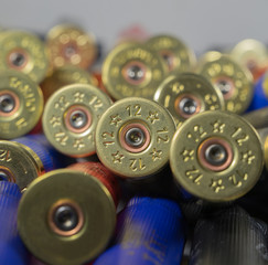 Many hunting cartridges close up