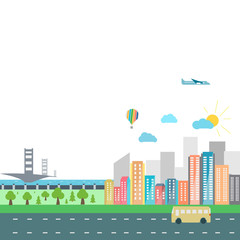 Colorful city in vector graphics tablet