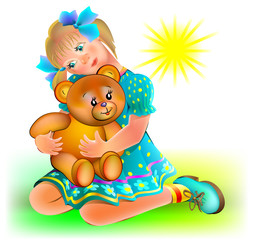 Illustration of little girl holding teddy bear, vector cartoon image.