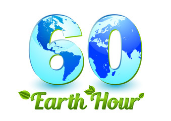 Card with number 60 and globe inside symbolizing 60 minutes in Earth Hour isolated on white. Raster illustration