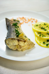 Fish with fresh herbs and lemon steamed sea salt