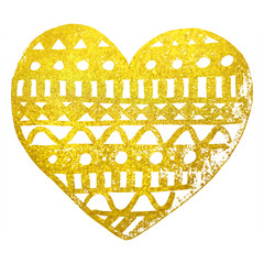 Zentangle doodle gold golden heart ink hand drawn isolated