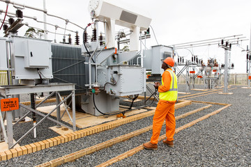 african electrician working in substation