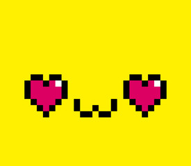 Pixel Cartoon In Love Face Isolated
