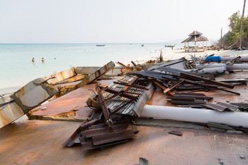 Destroyed after the tsunami on the island in the Andaman Sea