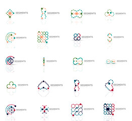 Set of linear abstract logos. Swirl, circle, infinity loop and other concepts. Logotype brand templates