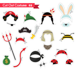paper cut out for kids with costume accessories . can be used as a props for a theamed party