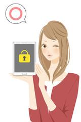 タブレット セキュリティロックをかける女性 マル