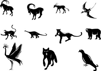 Animals black silhouettes set isolated on white