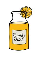 Doodle of a bottle of orange juice