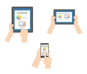 デジタル機器を操作する手 セット