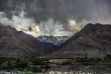 Gathering storm in Himalayas mountains. Ladakh, India