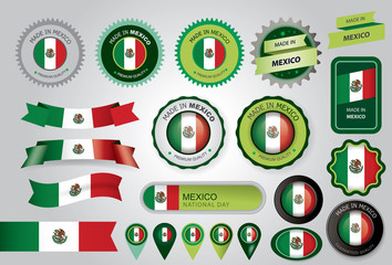 Made in Mexico Seal, Mexican Flag (Vector Art)