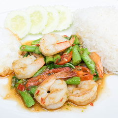 rice and shrimp with Basil and chili sauce and egg