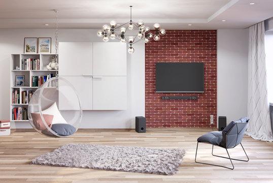 Светлая гостиная с декоративной кирпичной стеной