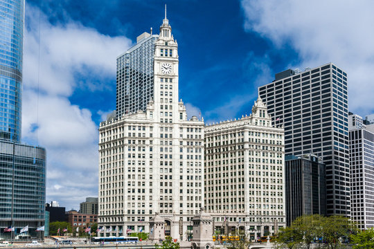 CHICAGO, ILLINOIS - MAY 22 : The Wrigley Building in Chicago, The corporate headquarters of the Wrigley Company, on May 22, 2008 in Chicago, Illinois, USA.