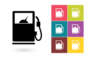 Gas pump icon or gas pump drawing symbol. Gas pump vector element or gas pump pictogram for logo with gas pump icon or label with gas pump icon
