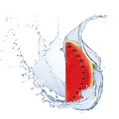 Water Splash With Watermelon Fruit
