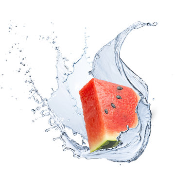 Water Splash With Watermelon Fruit