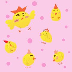 cute cartoon chickens, vector illustration