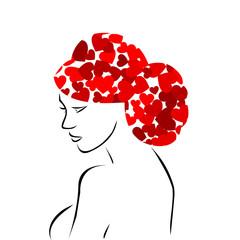 Red heart hair woman
