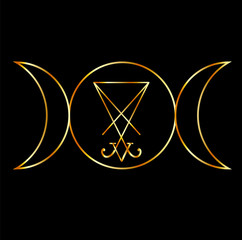 Wiccan symbol, Triple Goddess with sigil of Lucifer
