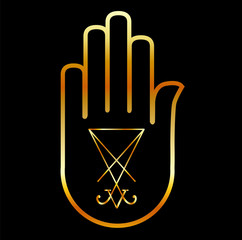 Sigil of Lucifer in a palm
